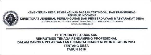 Prosedur Seleksi dan Tahapan Penilaian Pendamping Desa 2016
